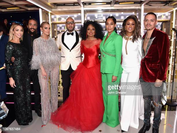 Kimberly Ryan Ross Arne Naess Ashlee Simpson Swizz Beatz Diana Ross Tracee Ellis Ross Eve and Evan Ross pose backstage during the 61st Annual GRAMMY...