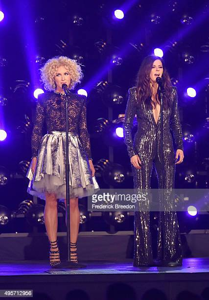 Kimberly Schlapman and Karen Fairchild of Little Big Town perform onstage at the 49th annual CMA Awards at the Bridgestone Arena on November 4 2015...