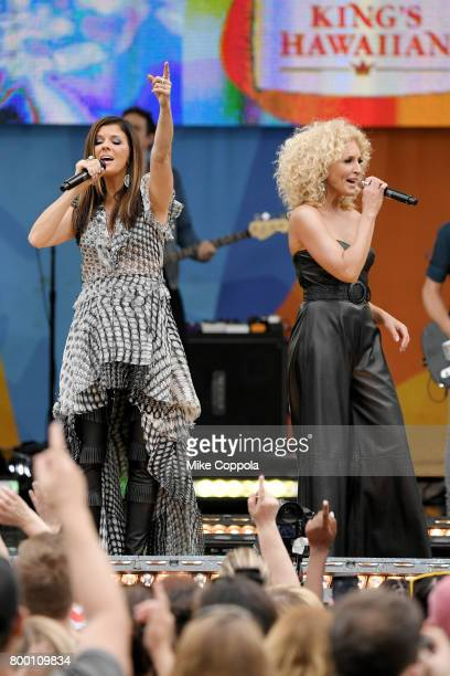 Kimberly Schlapman and Karen Fairchild of Little Big Town perform onstage on ABC's 'Good Morning America' at Rumsey Playfield Central Park on June 23...