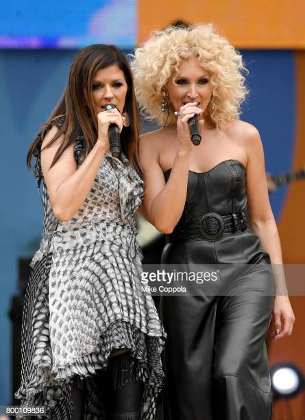 Kimberly Schlapman and Karen Fairchild of Little Big Town perform onstage on ABC's Good Morning America at Rumsey Playfield Central Park on June 23...