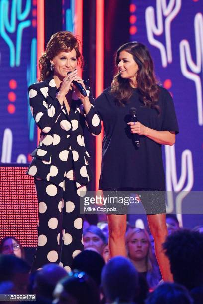 Kimberly Schlapman and Karen Fairchild of musical group Little Big Town speak at the 2019 CMT Music Awards at Bridgestone Arena on June 05 2019 in...