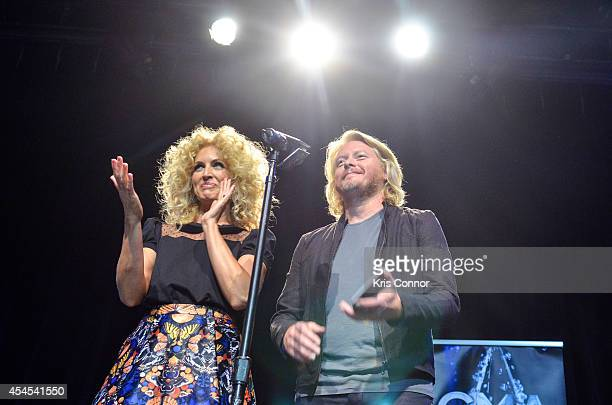 Kimberly Schlapman and Phillip Sweet speak during the 48th Annual CMA Awards Nominees Announcement at Best Buy Theater on September 3 2014 in New...