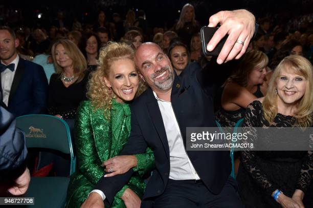 Kimberly Schlapman and Stephen Schlapman take a selfie during the 53rd Academy of Country Music Awards at MGM Grand Garden Arena on April 15 2018 in...