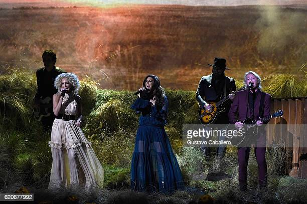 Kimberly Schlapman Karen Fairchild and Phillip Sweet of Little Big Town perform onstage at the 50th annual CMA Awards at the Bridgestone Arena on...