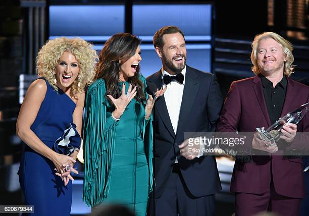 Kimberly Schlapman Karen Fairchild Jimi Westbrook and Philip Sweet of Little Big Town accept an award onstage at the 50th annual CMA Awards at the...