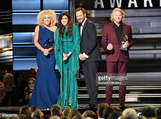 Kimberly Schlapman Karen Fairchild Jimi Westbrook and Phillip Sweet of Little Big Town accept the award for Vocal Group of the Year onstage at the...