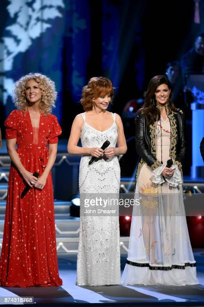 Kimberly Schlapman of Little Big Town Reba McEntire and Karen Fairchild of Little Big Town perform onstage for CMA 2017 Country Christmas at The...