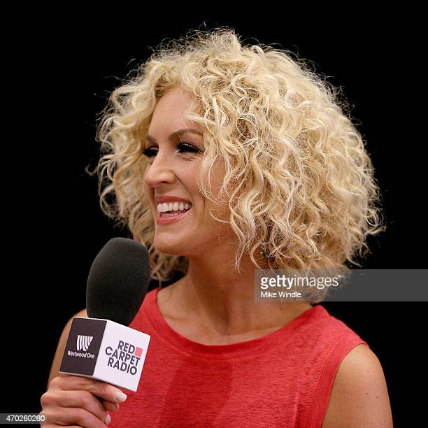 Kimberly Schlapman of Little Big Town speaks at the Red Carpet Radio presented by Westwood One Radio during the 50th Academy of Country Music Awards...