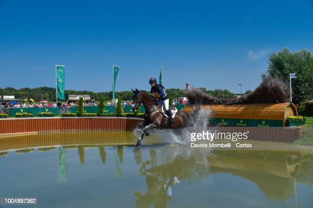 Kimberly Severson of the United States riding Cooley Cross Border during the obstacle in the water of the Cross Country test DHLPrize in the park of...