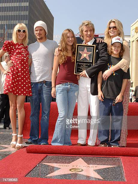 Kimberly Stewart Sean Stewart Ruby Stewart Rod Stewart Liam McAlister and Penny Lancaster at the 6801 Hollywood Blvd at Hollywood Highland Complex in...