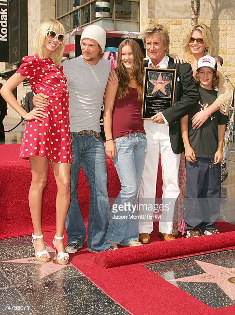 Kimberly Stewart Sean Stewart Ruby Stewart Rod Stewart Liam McAlister and Penny Lancaster during Rod Stewart Honored with a Star on the Hollywood...