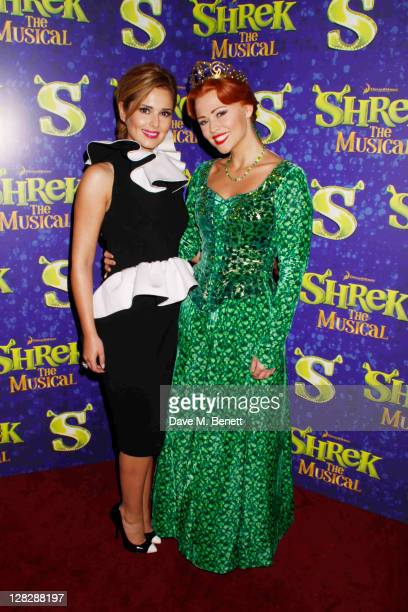 Kimberly Walsh and Cheryl Cole attend singer Kimberley Walsh's debut in the role of Fiona in 'Shrek The Musical' at the Theatre Royal Drury Lane on...