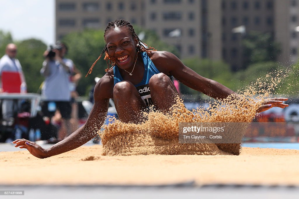 Kimberly Williams, Jamaica, winning the Women's Triple Jump competition  during the Diamond League Adidas