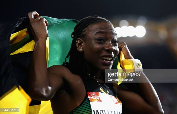 Kimberly Williams of Jamaica celebrates winning gold in the Women's Triple Jump final during the Athletics on day six of the Gold Coast 2018...