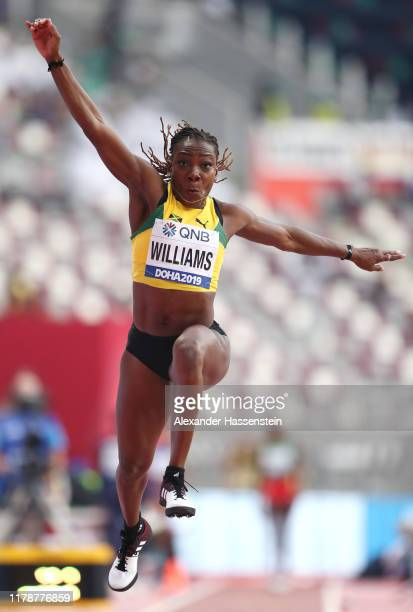 Kimberly Williams of Jamaica competes in the Women's Triple Jump Qualification during day seven of 17th IAAF World Athletics Championships Doha 2019...