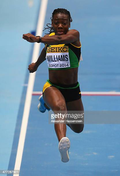 Kimberly Williams of Jamaica competes in the Women's Triple Jump Final during day two of the IAAF World Indoor Championships at Ergo Arena on March 8...