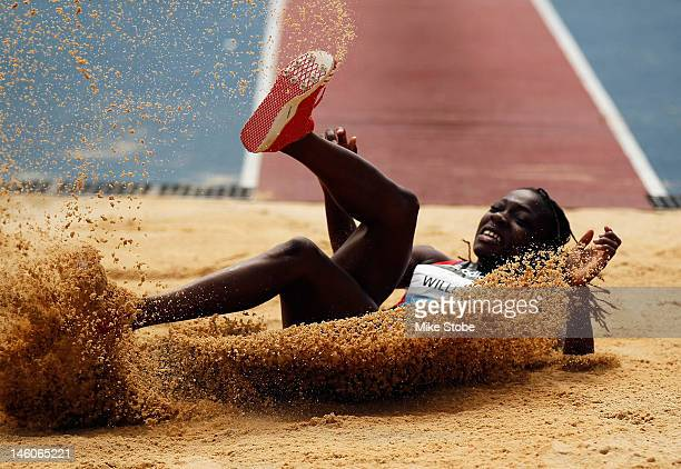 Kimberly Williams of Jamica competes in the Women's Triple Jump during the adidas Grand Prix at Icahn Stadium on Randall's Island on June 9 2012 in...