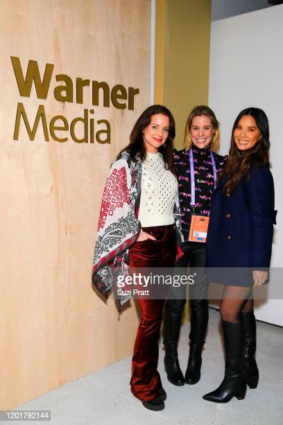 Kimberly Williams-Paisley, Ashley Williams, and Olivia Munn attend the WarnerMedia and AT&T Sundance Kick-Off Party at Lateral on January 24, 2020 in...