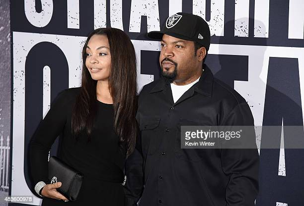 Kimberly Woodruff and Ice Cube attend the Universal Pictures and Legendary Pictures' premiere of Straight Outta Compton at Microsoft Theater on...