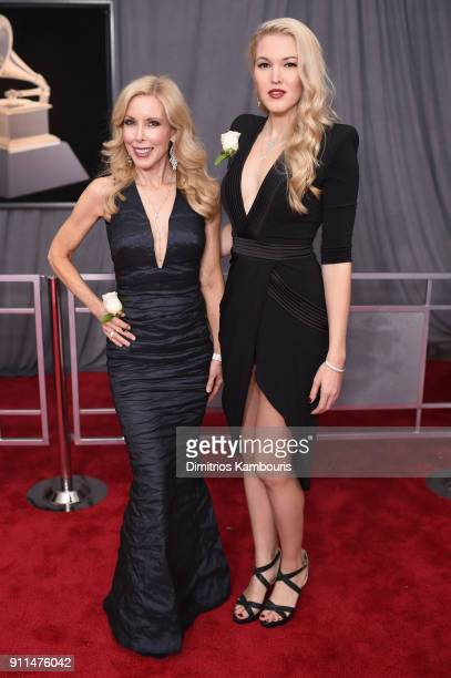 Kimberly Woolen and singer Ashley Campbell wife and daughter of GRAMMY nominee Glen Campbell attend the 60th Annual GRAMMY Awards at Madison Square...