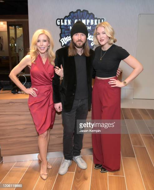 Kimberly Woolen Cal Campbell and Ashley Campbell attend the Glen Campbell Museum and Rhinestone Stage opening on February 13 2020 in Nashville...