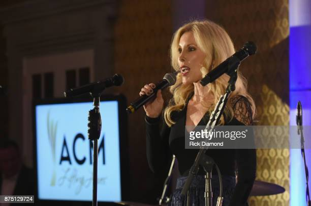 Kimberly Woolen speaks onstage for ACM Lifting Lives featuring Little Big Town hosted and underwritten by Johnathon Arndt and Newman Arndt on...