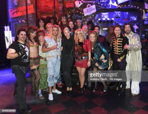 Kimberly Wyatt and Adam Garcia meet the cast of Rock of Ages including Shayne Ward and Justin Lee Collins backstage at the Shaftesbury Theatre London