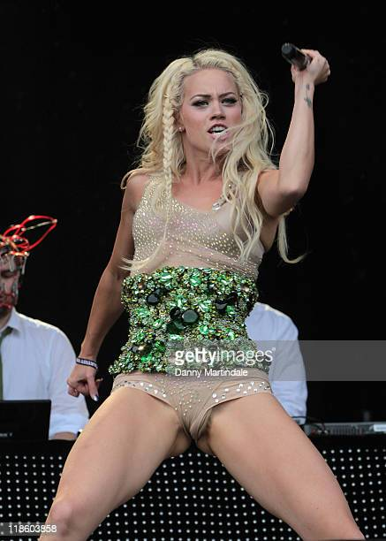 Kimberly Wyatt and her band Her Majesty the Wolves performs on day two of T In The Park at Balado on July 9 2011 in Kinross Scotland