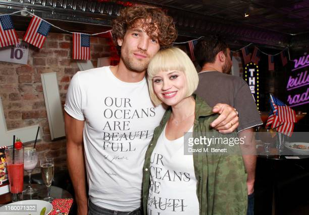 Kimberly Wyatt and Max Rogers kick off the fourth of July celebrations at a party hosted by the original American restaurant TGI Fridays in Leicester...