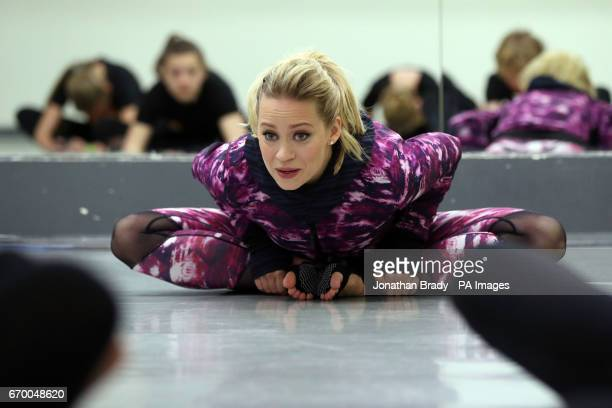 Kimberly Wyatt teaches young dancers from Stagecoach a routine during a launch event for her new book 'Billie's Big Audition' at Pineapple Dance...