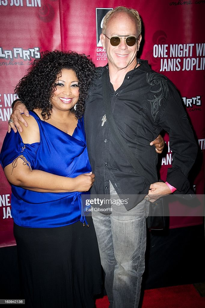 Kimberly Yarbrough and Randy Johnson (Director) pose for a photo at the opening night performance of 'One Night With Janis Joplin' at Pasadena Playhouse on March 17, 2013 in Pasadena, California.