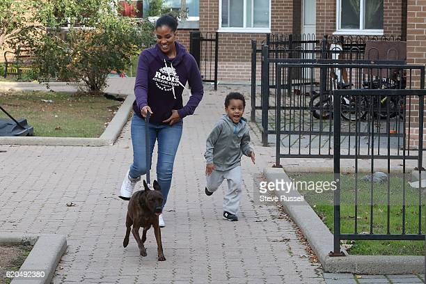 TORONTO ON NOVEMBER 1 Kimbo starts to sprint as he gets closer to his home dragging Michelle Daniels and her son Tres along Kimbo the the dog is...