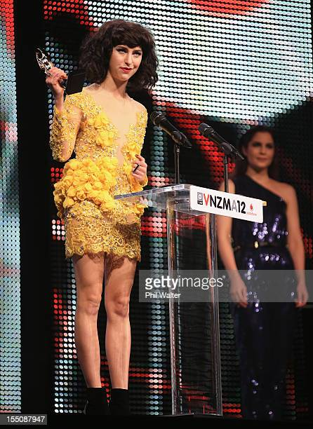 Kimbra accepts one of her 5 Tui awards during the 2012 Vodafone New Zealand Music Awards at Vector Arena on November 1 2012 in Auckland New Zealand