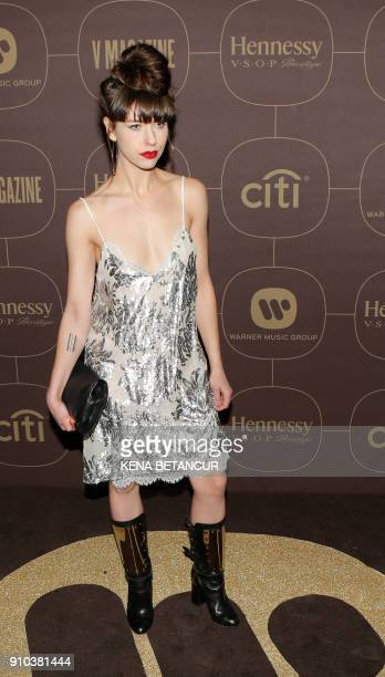 Kimbra attends the Warner Music Group's annual Grammy celebration in association with V magazine on January 25 2018 in New York / AFP PHOTO / KENA...