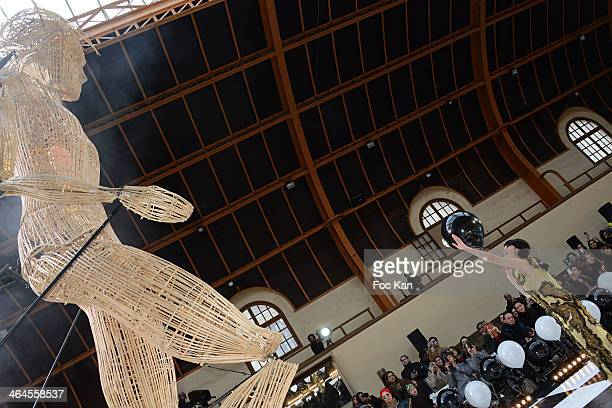 Kimbra Johnson walks the runway during the Franck Sorbier show as part of Paris Fashion Week Haute Couture Spring/Summer at the Caserne De La Garde...