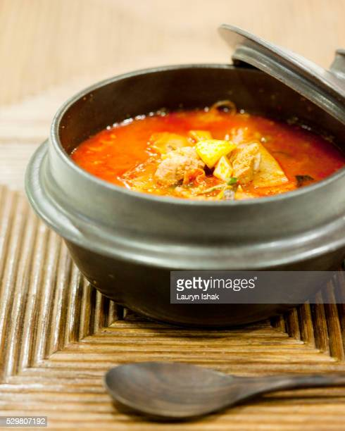 kimchi chigae - lauryn ishak stock pictures, royalty-free photos & images