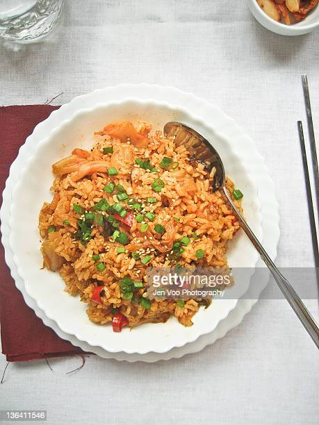 Kimchi fried rice with mushrooms