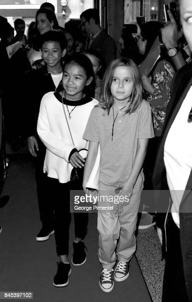 Kimhak Mun Sareum Srey Moch and Vivienne JoliePitt attend The Breadwinner premiere during the 2017 Toronto International Film Festival at Winter...