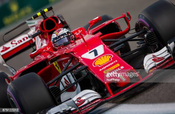 Kimi Raikkönen of Finland and Ferrari Team driver goes during the third practice at Formula One Etihad Airways Abu Dhabi Grand Prix on Nov 25 2017 in...
