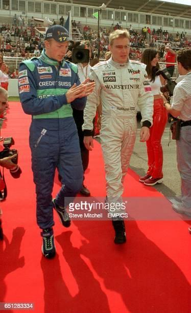 Kimi Raikkonen and Mika Hakkinen at the Spanish Grand Prix