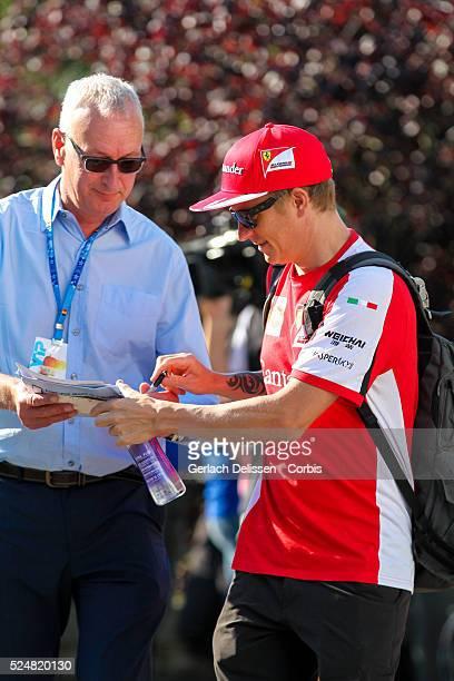 Kimi Raikkonen driving for the Scuderia Ferrari Team in the paddock during the 2015 Formula 1 Shell Belgian Grand Prix at Circuit de...