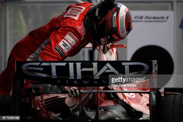 Kimi Raikkonen Ferrari F2008 Grand Prix of France Circuit de Nevers MagnyCours 22 June 2008 Kimi Raikkonen examining his car at the end of the 2008...