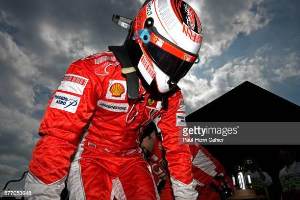 Kimi Raikkonen, Grand Prix of Belgium, Circuit de Spa-Francorchamps, 16 September 2007. Kimi Raikkonnen on the starting grid of the 2007 Grand Prix...