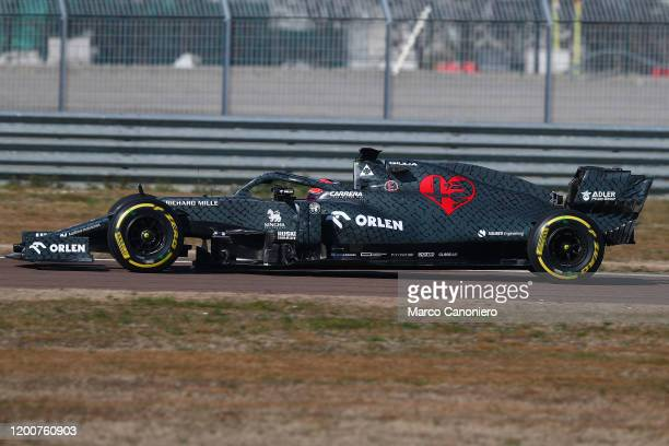 Kimi Raikkonen of Alfa Romeo Sauber Formula 1 Racing on track with Alfa Romeo Racing C39 during shakedown of the new car
