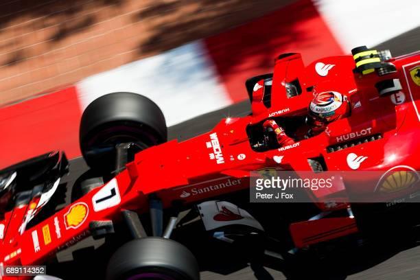 Kimi Raikkonen of Ferrari and Finland during qualifying for the Monaco Formula One Grand Prix at Circuit de Monaco on May 27, 2017 in Monte-Carlo,...