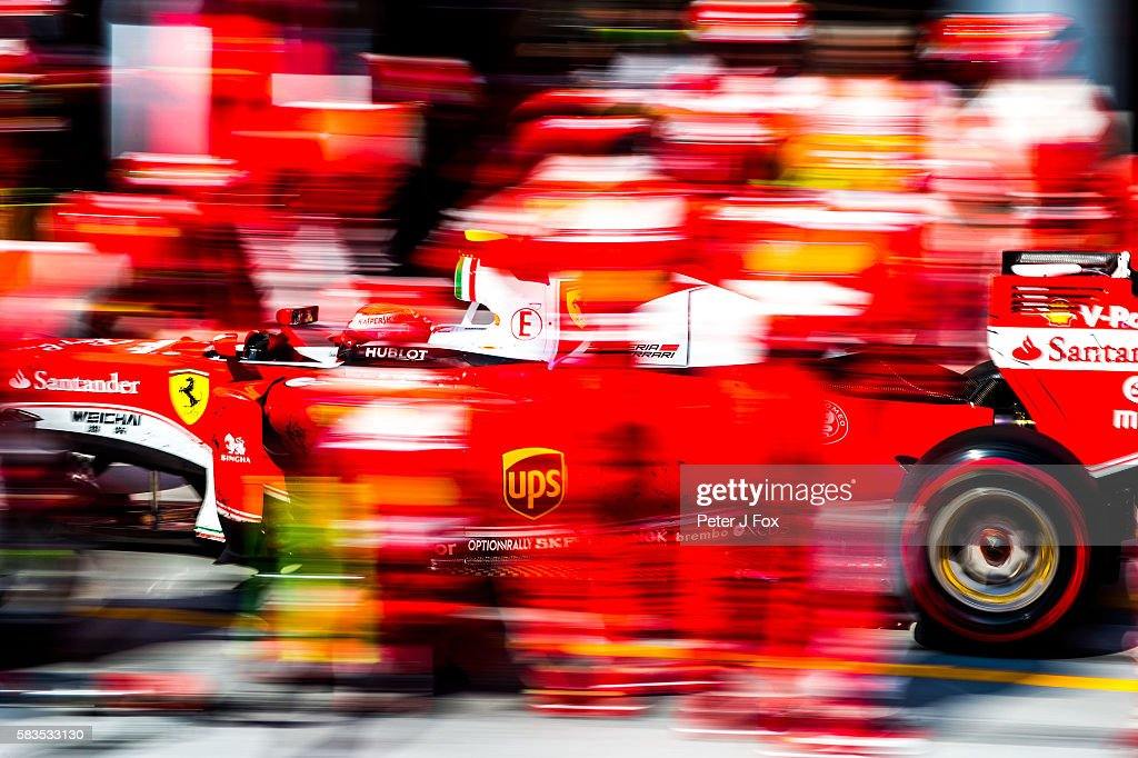 Kimi Raikkonen of Ferrari and Finland during the Formula One Grand Prix of Hungary at Hungaroring on July 24, 2016 in Budapest, Hungary.