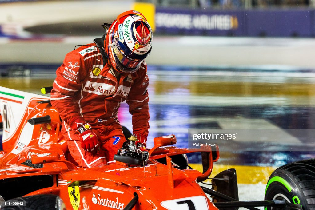 Kimi Raikkonen of Ferrari and Finland during the Formula One Grand Prix of Singapore at Marina Bay Street Circuit on September 17, 2017 in Singapore.