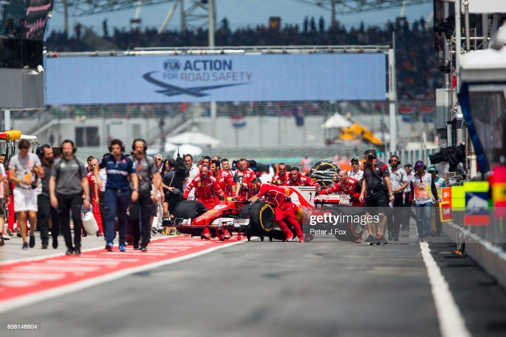 Kimi Raikkonen of Ferrari and Finland retires during the Malaysia Formula One Grand Prix at Sepang Circuit on October 1, 2017 in Kuala Lumpur, Malaysia.