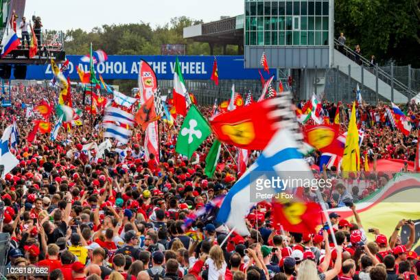 Kimi Raikkonen of Ferrari and Finland waves to the Tifosi during the Formula One Grand Prix of Italy at Autodromo di Monza on September 2 2018 in...