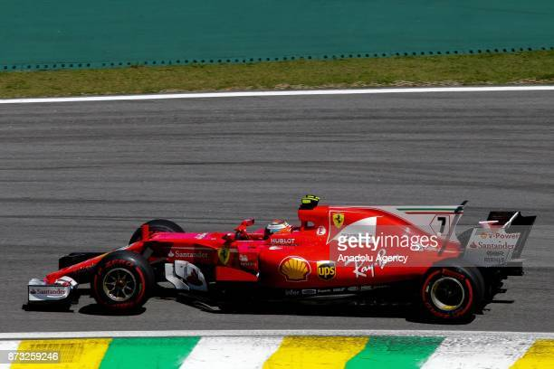 Kimi Raikkonen of Ferrari team competes during the Brazilian Formula One Grand Prix at the Jose Carlos Pace racetrack in Sao Paulo Brazil on November...